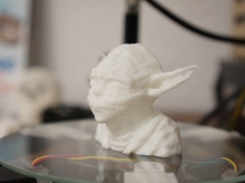 3-D Printed White Yoda Bust
